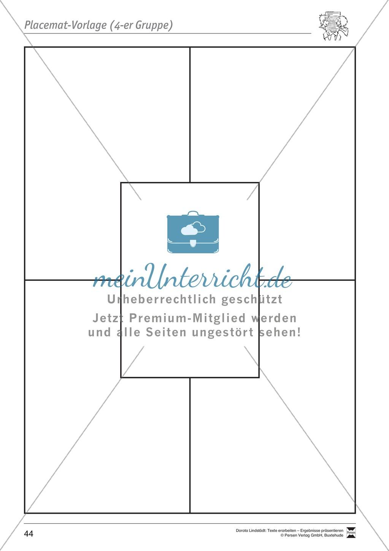 Kooperatives Lernen: Merkblatt, Placemat als Arbeitsmethode, Arbeitsmaterialien und Unterrichtsbeispiel Preview 7