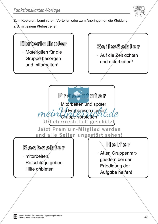 Kooperatives Lernen: Merkblatt, Placemat als Arbeitsmethode, Arbeitsmaterialien und Unterrichtsbeispiel Preview 8