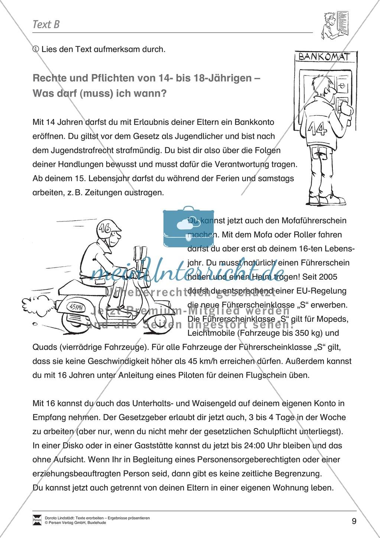 Textarbeit: Rechte und Pflichten von 14- bis 18-jährigen: Text ...