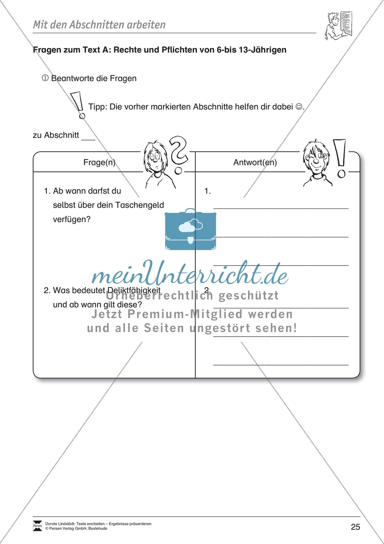 Textarbeit: Rechte und Pflichten von 6- bis 13-jährigen: Text, Arbeitsblätter, Fragen zum Text Preview 11
