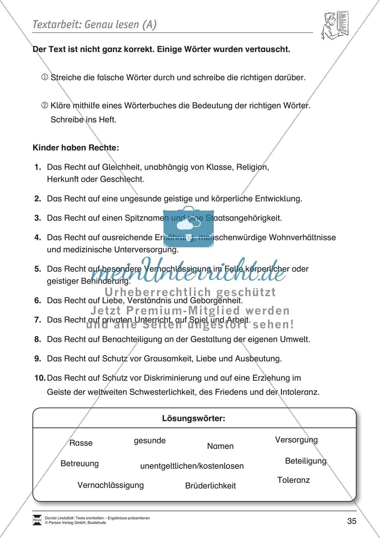 Textarbeit: Rechte und Pflichten von 6- bis 13-jährigen: Text, Arbeitsblätter, Fragen zum Text Preview 15