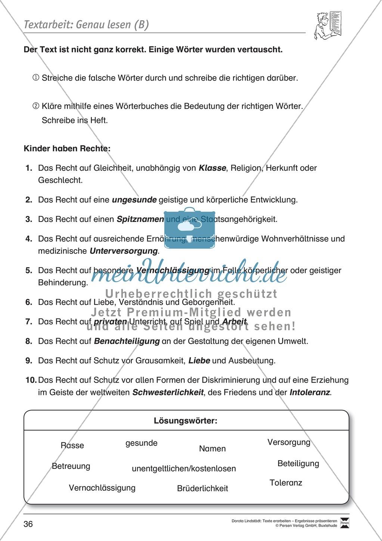 Textarbeit: Rechte und Pflichten von 6- bis 13-jährigen: Text, Arbeitsblätter, Fragen zum Text Preview 16