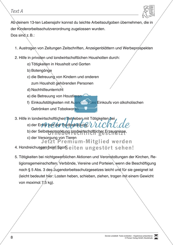 Textarbeit: Rechte und Pflichten von 6- bis 13-jährigen: Text, Arbeitsblätter, Fragen zum Text Preview 1