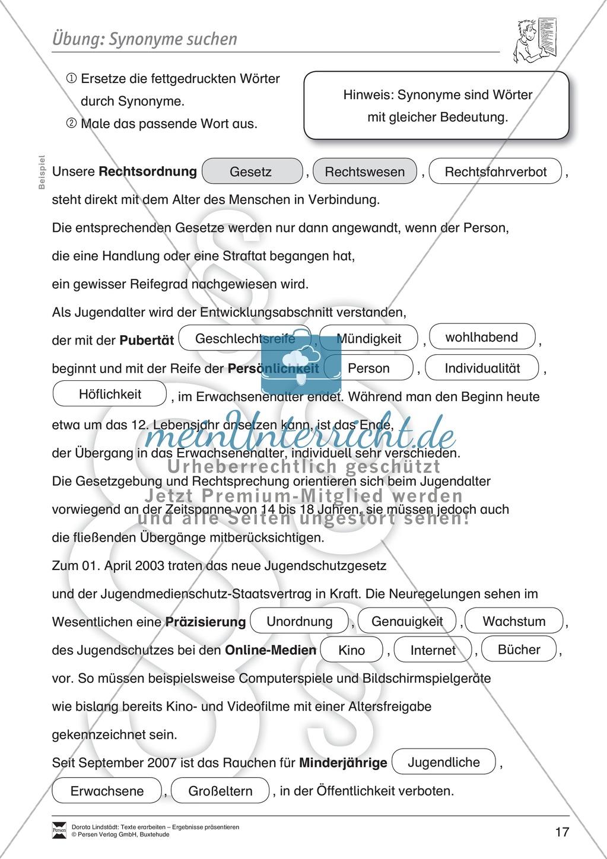 Textarbeit: Rechte und Pflichten von 6- bis 13-jährigen: Text, Arbeitsblätter, Fragen zum Text Preview 5