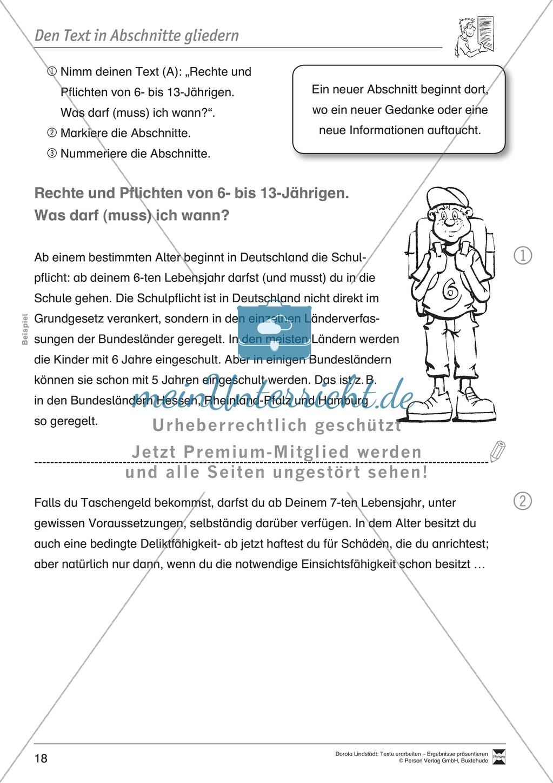 Textarbeit: Rechte und Pflichten von 6- bis 13-jährigen: Text, Arbeitsblätter, Fragen zum Text Preview 6