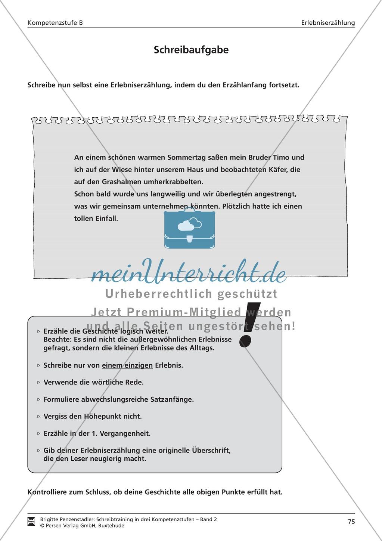 Schreibtraining Erlebniserzählung: Kompetenzstufe B: Arbeitsblätter mit Lösungen Preview 15