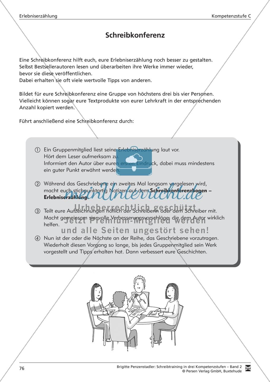 Schreibtraining Erlebniserzählung: Kompetenzstufe B: Arbeitsblätter mit Lösungen Preview 16