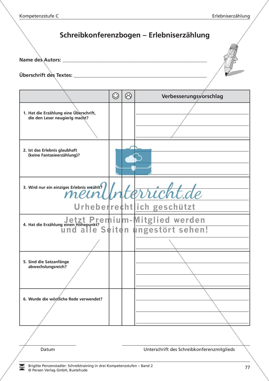 Schreibtraining Erlebniserzählung: Kompetenzstufe B: Arbeitsblätter mit Lösungen Preview 17