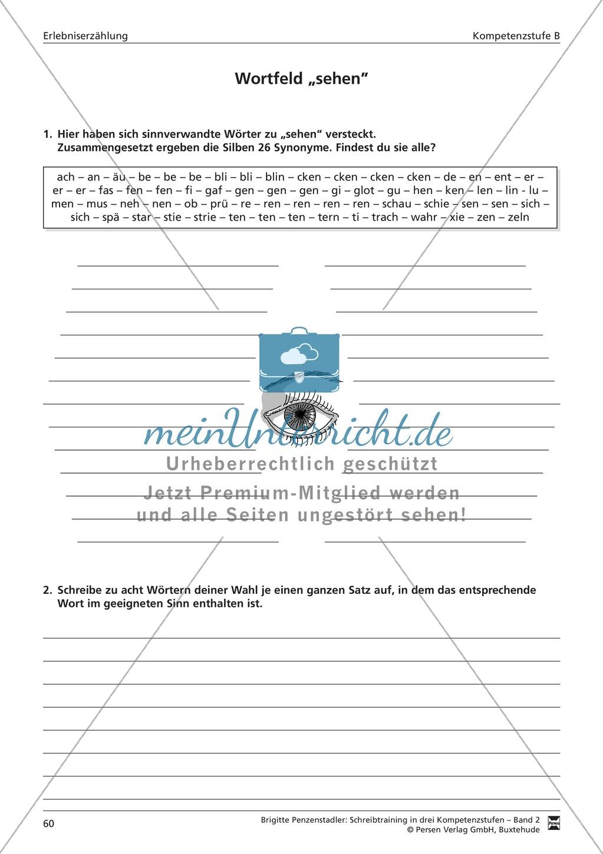 Schreibtraining Erlebniserzählung: Kompetenzstufe B: Arbeitsblätter mit Lösungen Preview 0