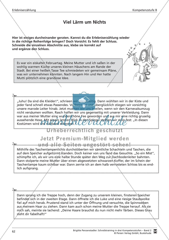 Schreibtraining Erlebniserzählung: Kompetenzstufe B: Arbeitsblätter mit Lösungen Preview 2