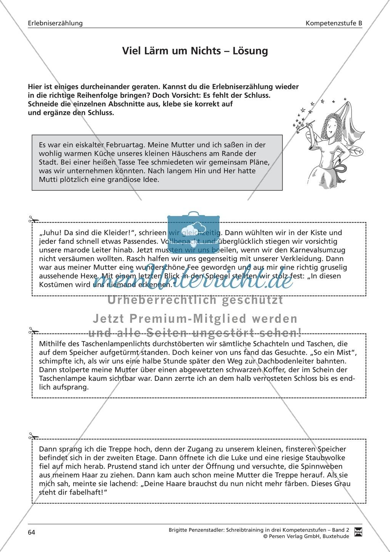 Schreibtraining Erlebniserzählung: Kompetenzstufe B: Arbeitsblätter mit Lösungen Preview 4