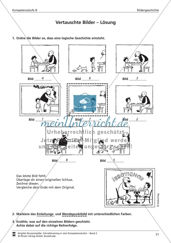 Schreibtraining Bildergeschichte: Kompetenzstufe B:  Arbeitsblätter mit Lösungen Preview 1