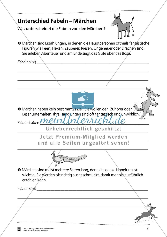 Unterschiede zwischen Fabeln und Märchen: Übungen Preview 0