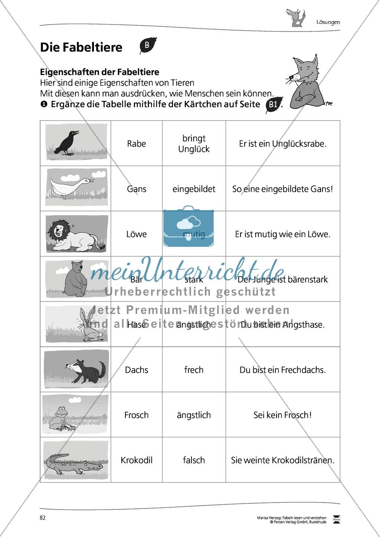 Arbeitsblatt Eigenschaften der Fabeltiere SUCHSEL mit 4993701 ...
