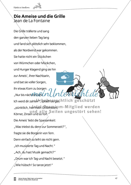 """Fabel """"Die Ameise und die Grille"""": Text Preview 1"""