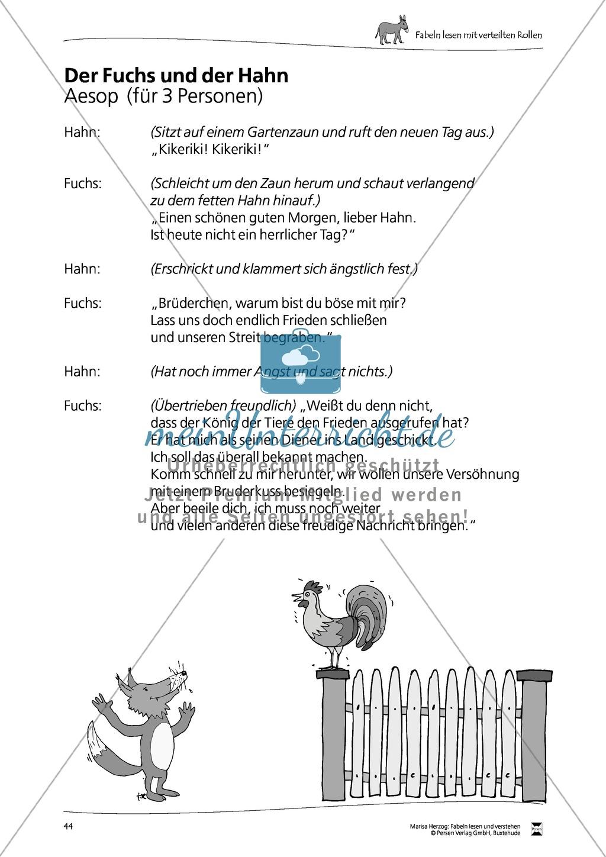 """Fabel """"Der Fuchs und der Hahn"""": Text Preview 1"""