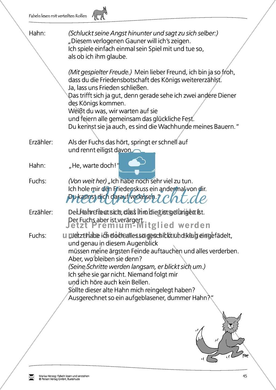 """Fabel """"Der Fuchs und der Hahn"""": Text Preview 2"""
