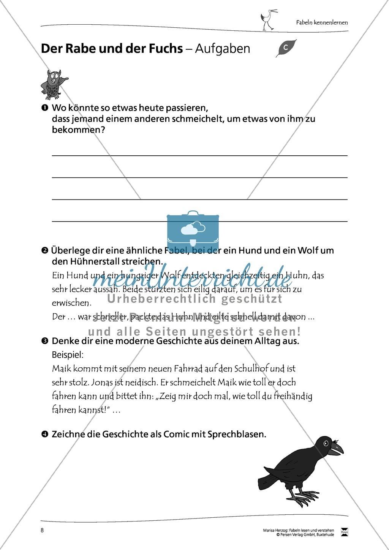 """Fabel """" Der Rabe und der Fuchs"""" + Übungen Preview 4"""