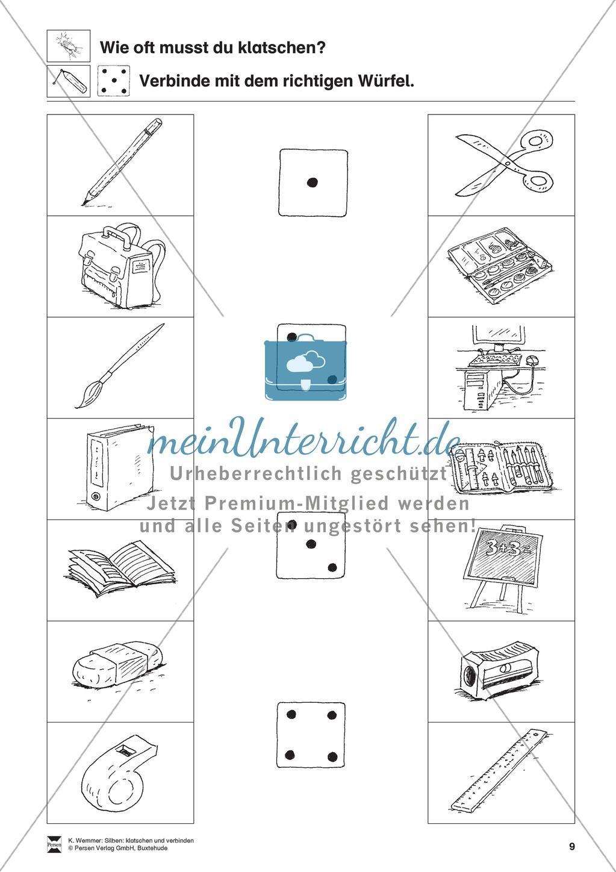 """Silben und Reime: """"klatschen und verbinden"""" Arbeitsblätter + Übungen Preview 9"""