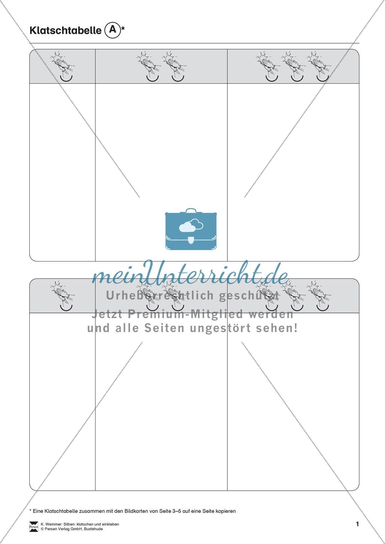 Silben: Klatschtabelle A und Arbeitsblätter Preview 0