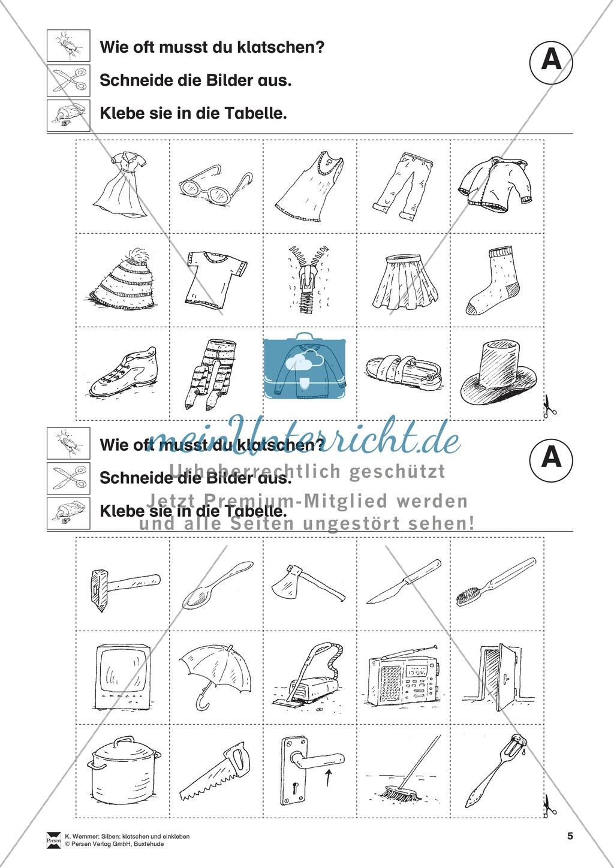Silben: Klatschtabelle A und Arbeitsblätter Preview 3