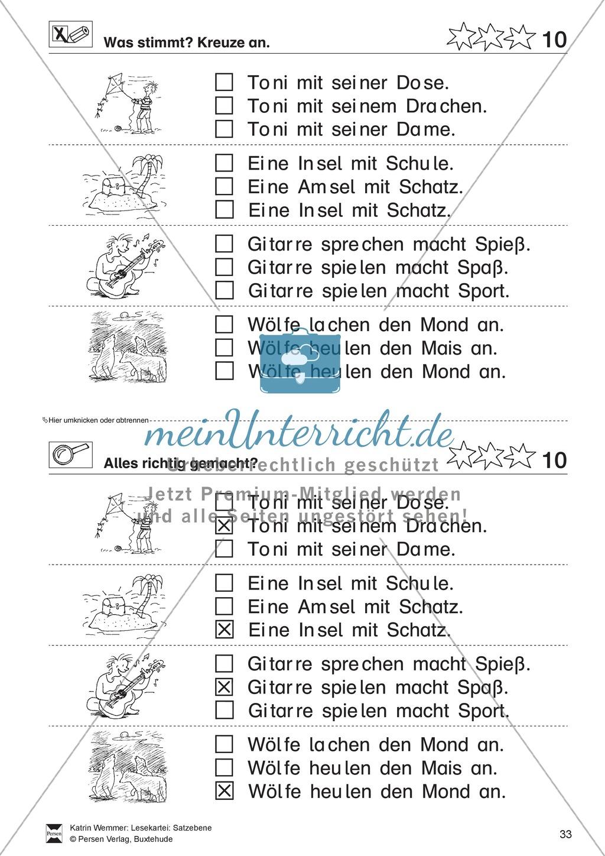 Leseübungen Satzebene: Übungen Satz-Bild-Zuordnung mit Lösungen Fortgeschrittene schwer gesamt Preview 9