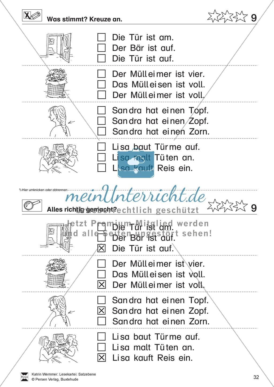 Leseübungen Satzebene: Übungen Satz-Bild-Zuordnung mit Lösungen Fortgeschrittene schwer gesamt Preview 8