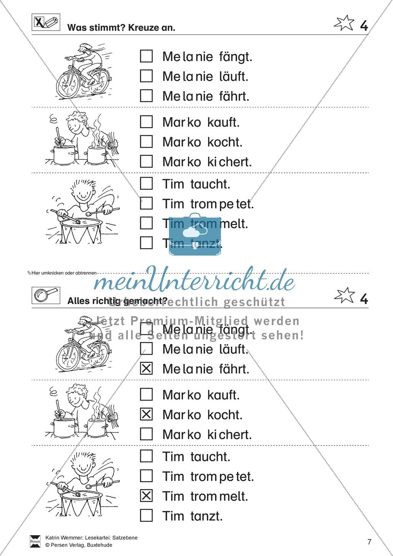 Leseübungen Satzebene: Übungen Satz-Bild-Zuordnung mit Lösungen Anfänger gesamt Preview 4