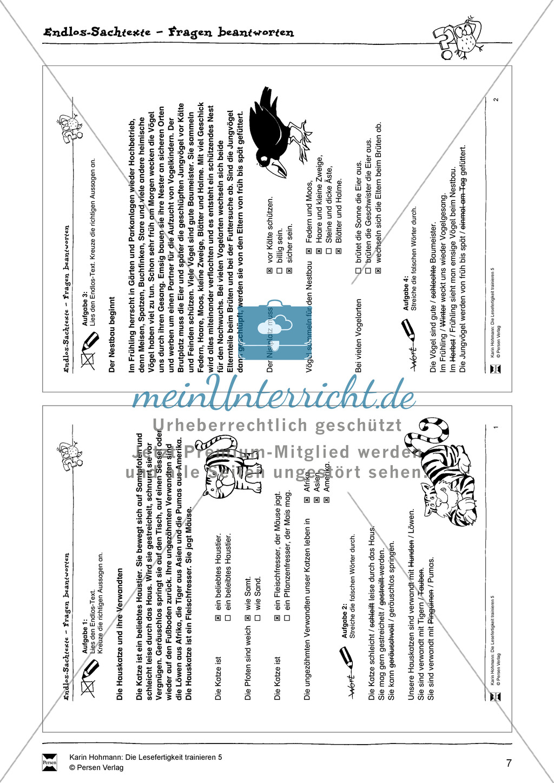 Sachtexte - Lesefertigkeit - Leseübungen:
