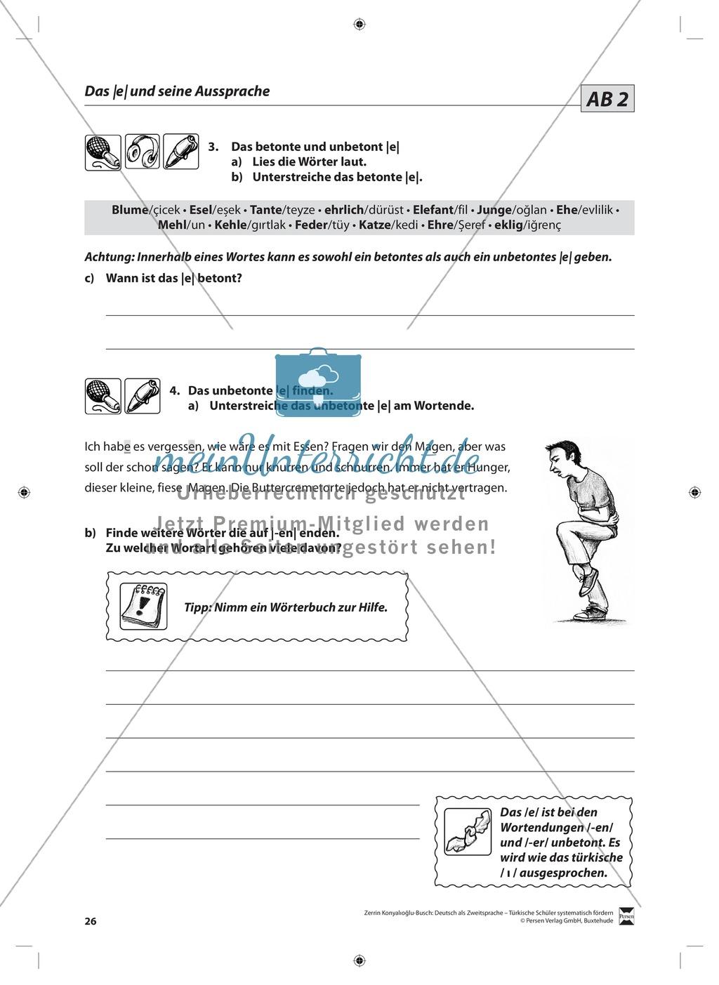 """Laut-Buchstaben-Zuordnung  """"e"""" und """"ä"""": Lehrerinformationen, Arbeitsblätter und Lösungen Preview 3"""