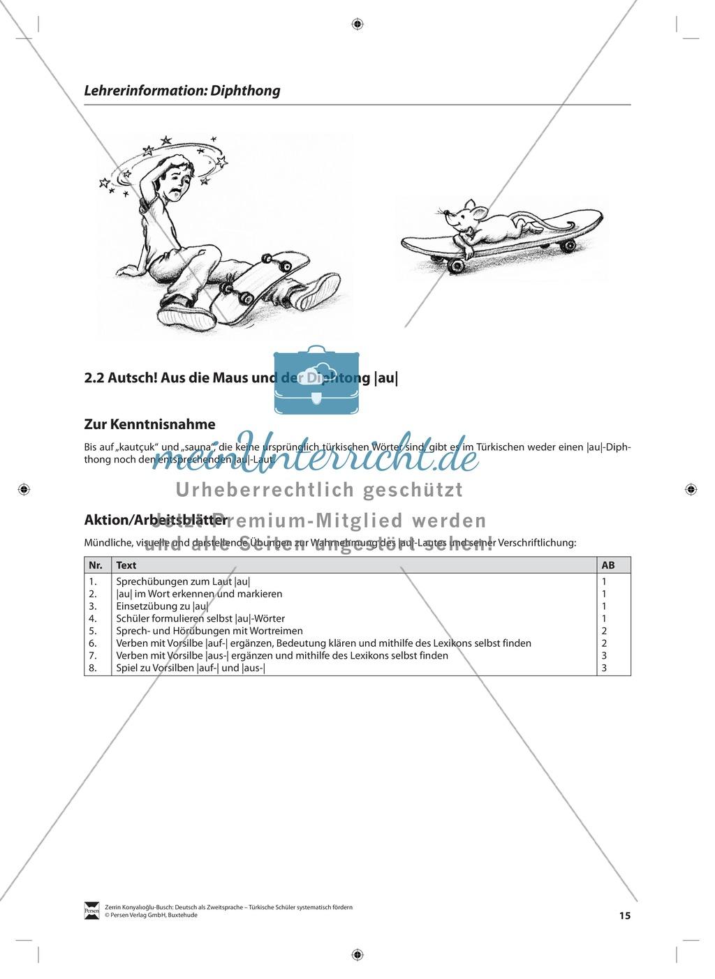 Der Diphthong: Lehrerinformationen, Arbeitsblätter und Lösungen Preview 1
