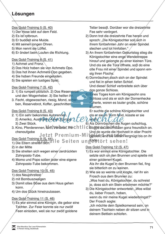 Leseführerschein Gold: Trainings- und Prüfungsblätter, Auswertungsbögen und Lösungen Preview 27