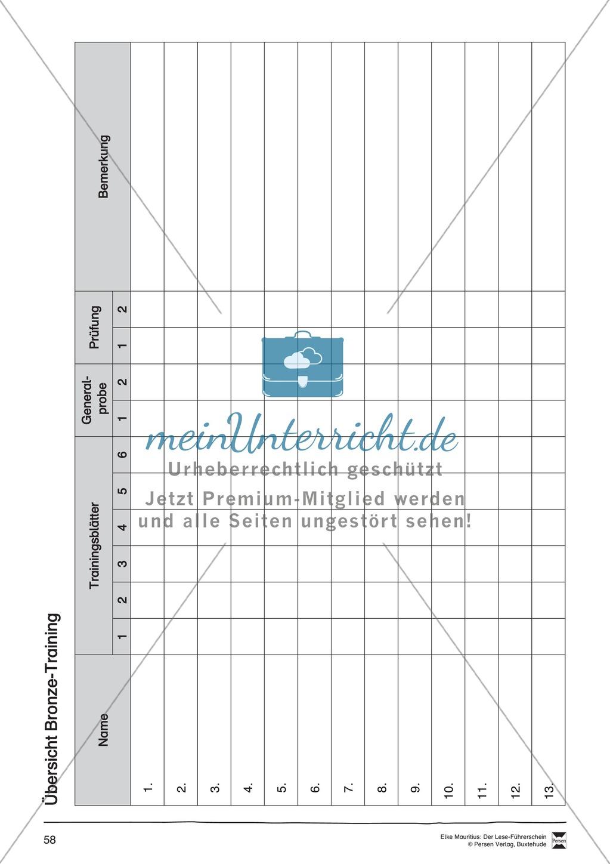 Leseführerschein Bronze: Trainings- und Prüfungsblätter, Auswertungsbögen und Lösungen Preview 14