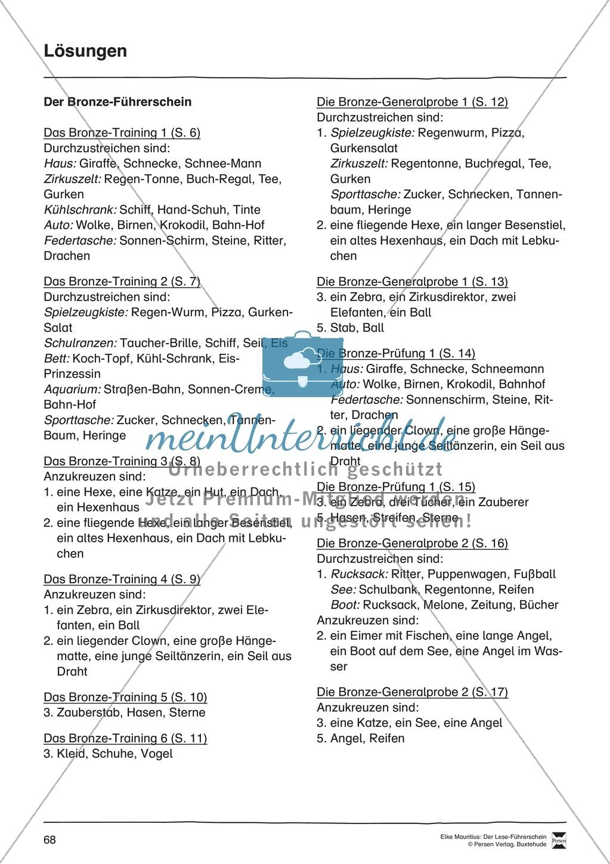 Leseführerschein Bronze: Trainings- und Prüfungsblätter, Auswertungsbögen und Lösungen Preview 18