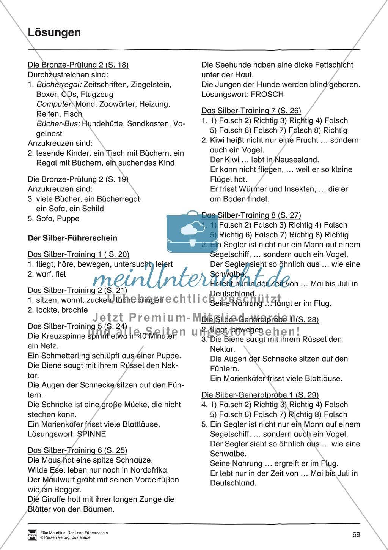 Leseführerschein Bronze: Trainings- und Prüfungsblätter, Auswertungsbögen und Lösungen Preview 19