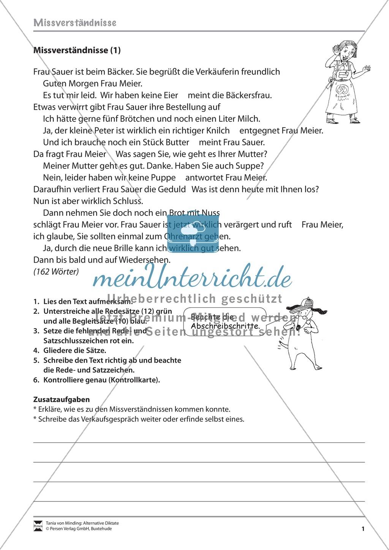 Arbeitsblatt Wortliche Rede Klasse