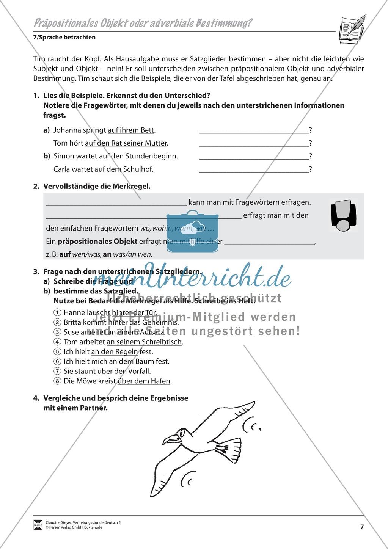 Präpositionales Objekt oder adverbiale Bestimmung: Übungen und Lösung Preview 1