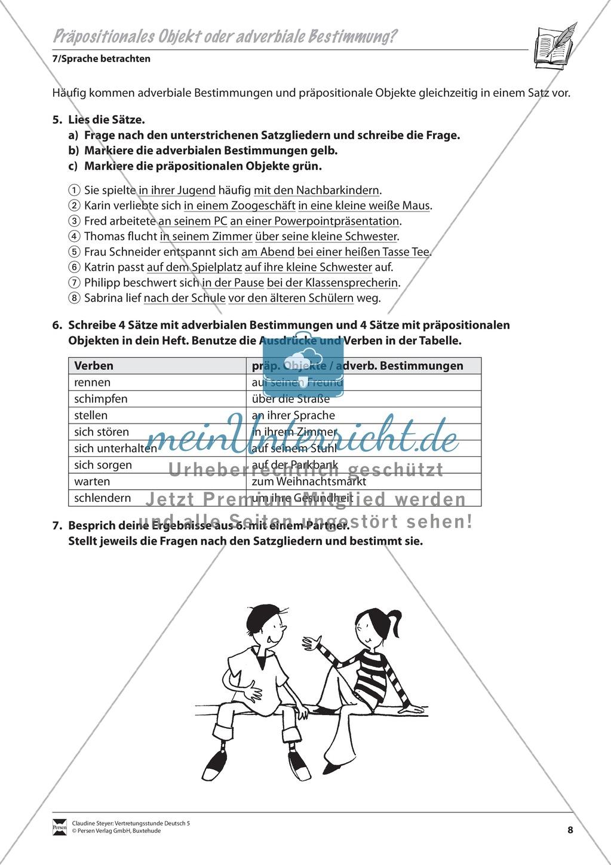 Präpositionales Objekt oder adverbiale Bestimmung: Übungen und Lösung Preview 2