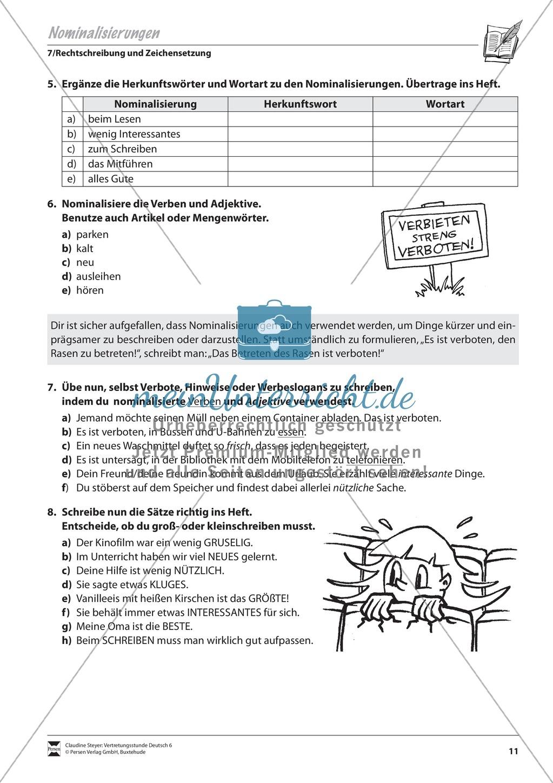 Nominalisierungen: Übungen und Lösung - meinUnterricht