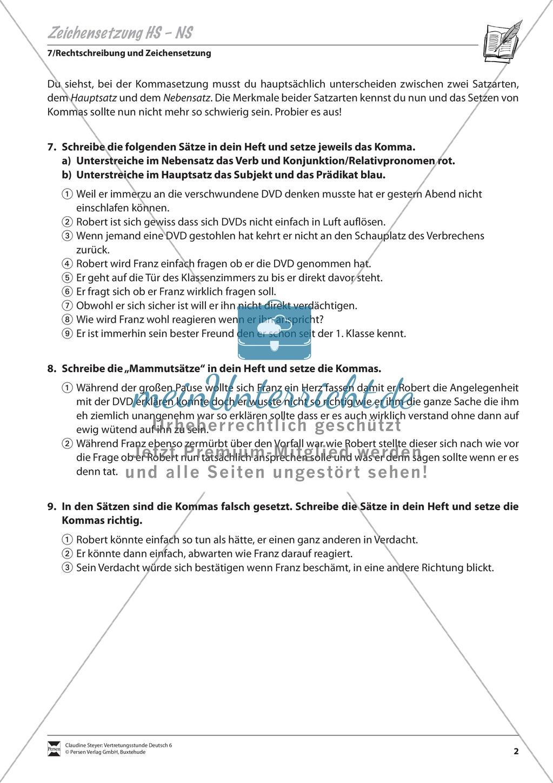 Zeichensetzung, Haupt- und Nebensätze: Übungen und Lösung Preview 1