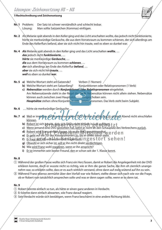 Zeichensetzung, Haupt- und Nebensätze: Übungen und Lösung Preview 2