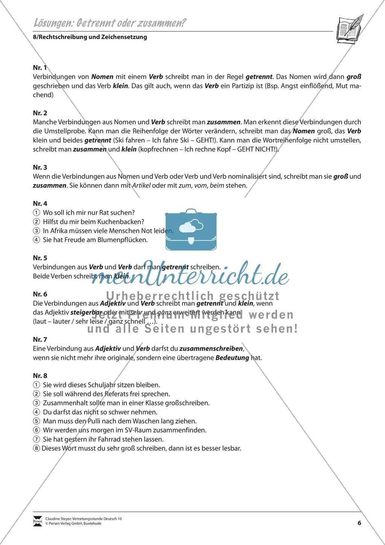 Getrennt- und Zusammenschreibung: Übungen und Lösung - meinUnterricht