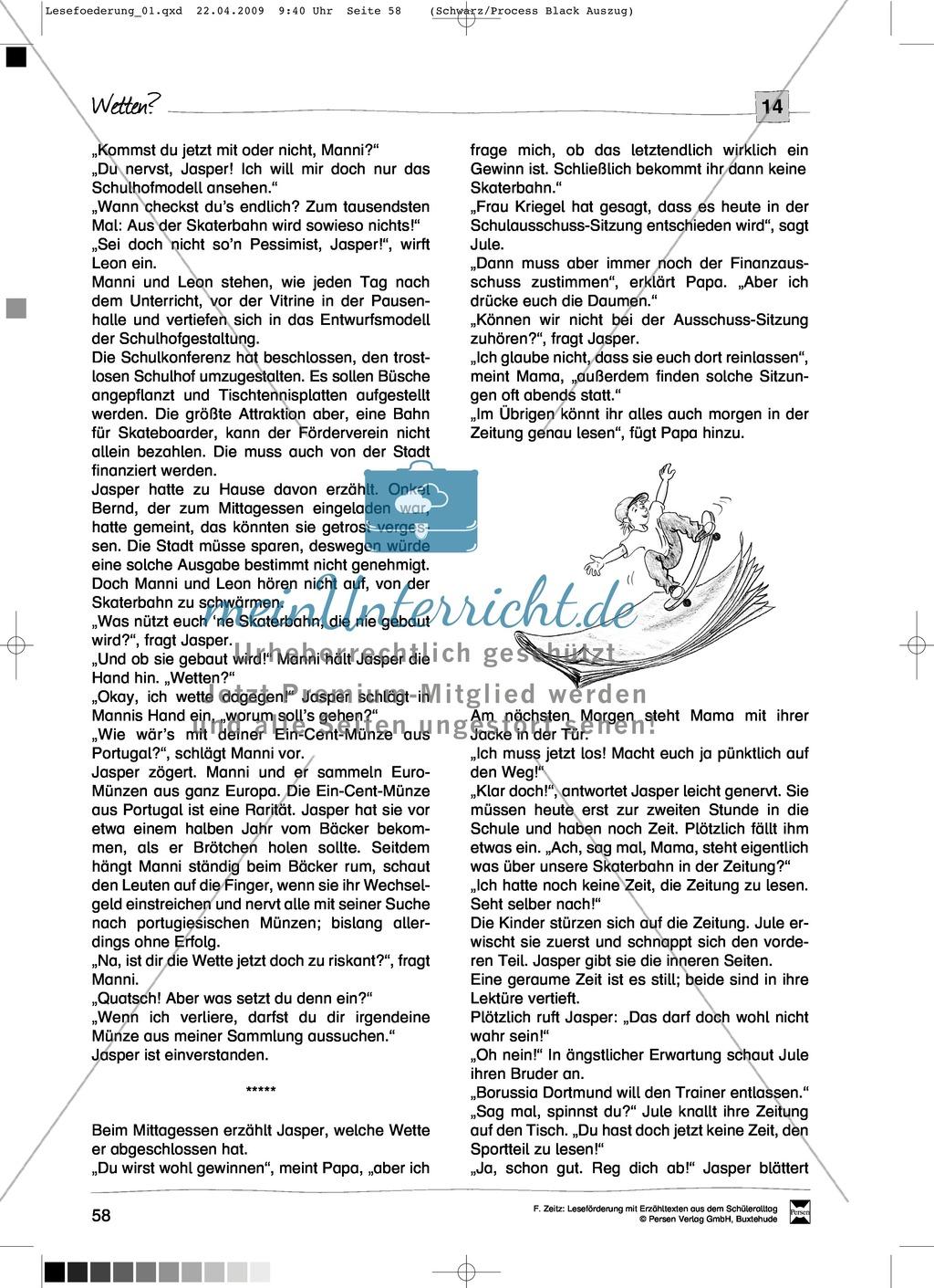 "Kurzgeschichte ""Wetten?"": Text + Übungen + Lösungen Preview 1"