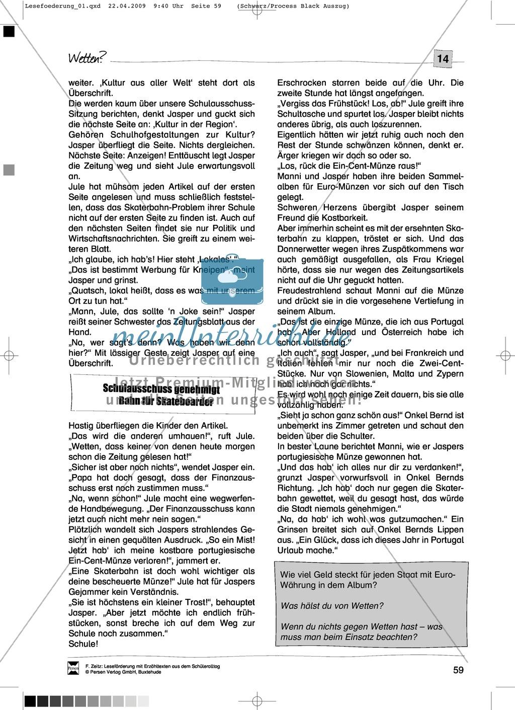 "Kurzgeschichte ""Wetten?"": Text + Übungen + Lösungen Preview 2"