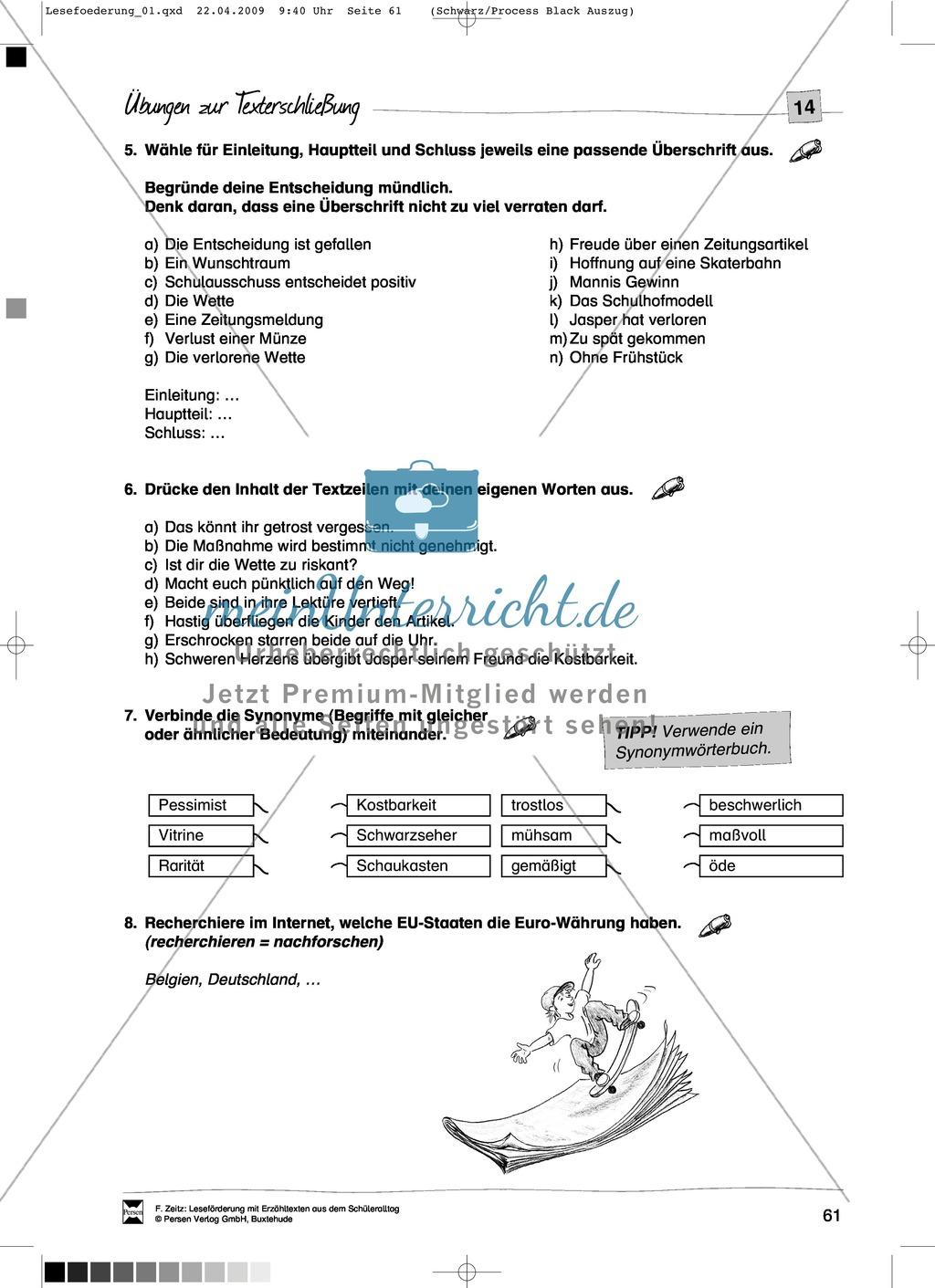 "Kurzgeschichte ""Wetten?"": Text + Übungen + Lösungen Preview 4"