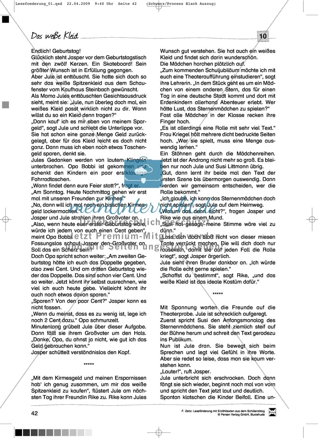 """Kurzgeschichte """"Das weiße Kleid"""": Text + Übungen + Lösungen Preview 1"""