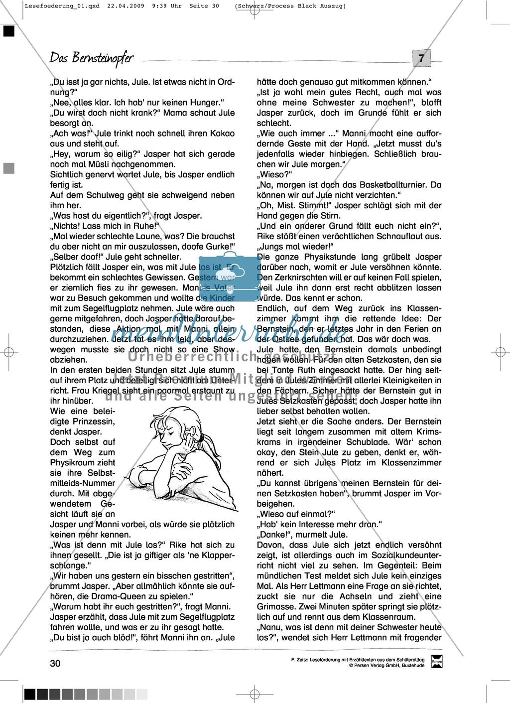 """Kurzgeschichte """"Das Bernsteinopfer"""": Text + Übungen + Lösungen Preview 1"""
