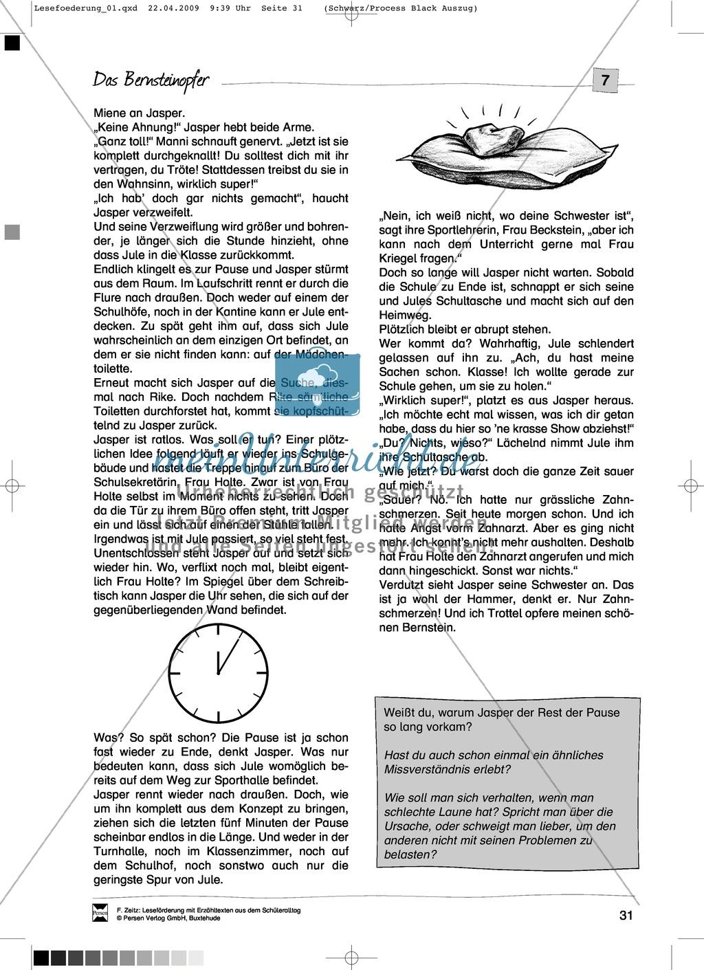 """Kurzgeschichte """"Das Bernsteinopfer"""": Text + Übungen + Lösungen Preview 2"""