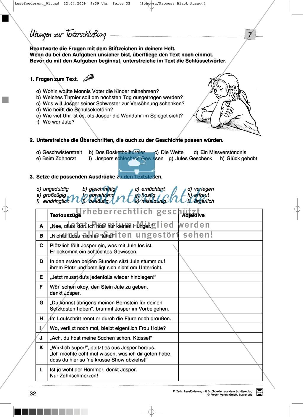 """Kurzgeschichte """"Das Bernsteinopfer"""": Text + Übungen + Lösungen Preview 3"""