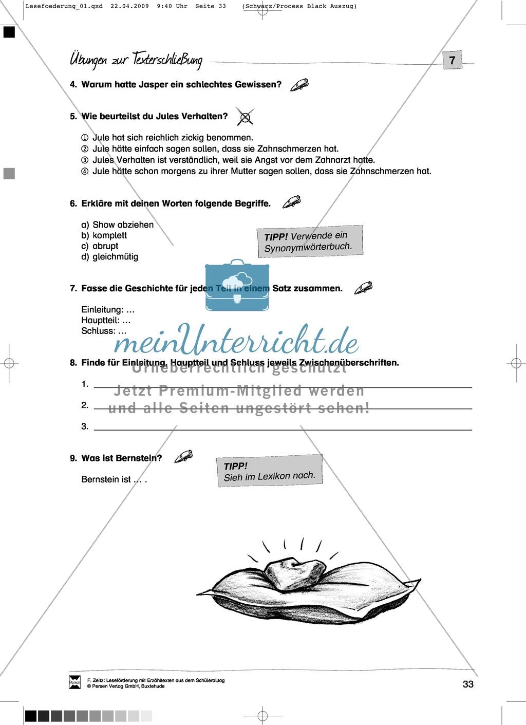 """Kurzgeschichte """"Das Bernsteinopfer"""": Text + Übungen + Lösungen Preview 4"""